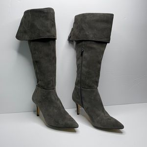 Lord & Taylor 424 grey suede tall heeled boots 7.5